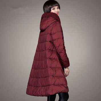 2017 plus size clothing thickening loose maternity coat medium-long down patchwork winter female