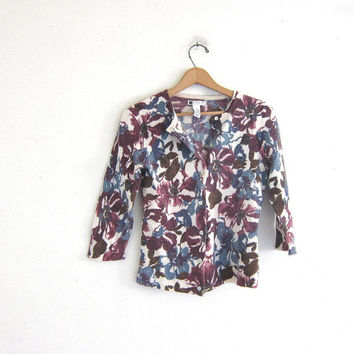 Vintage Floral Button Up Sweater Cardigan. lambs wool  /angora purple cardi