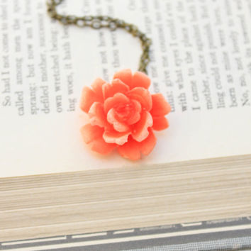 Coral Rose Necklace Romantic Floral Jewellery Tangerine Coral Jewelry Garden Wedding Bridesmaids Necklace Flower Pendant Bridal Accessories