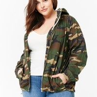 Plus Size Hooded Camo Windbreaker