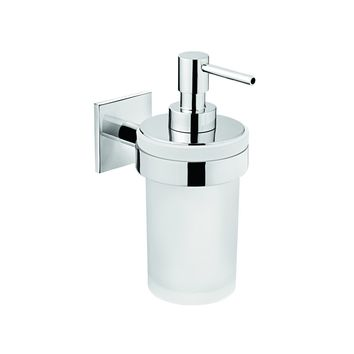 Square Self Adhesive Pump Soap Lotion Dispenser Glass for Bathroom, Brass Chrome