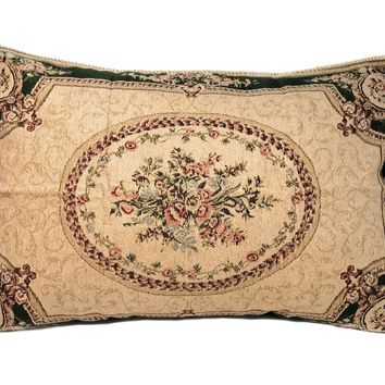 Tache 1 Chenille Floral Green Forest Medallion Woven Pillow Sham (DSC0011)