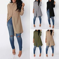 Women Summer Tunic Tops Blouse Loose Casual Chiffon Shirt Dress