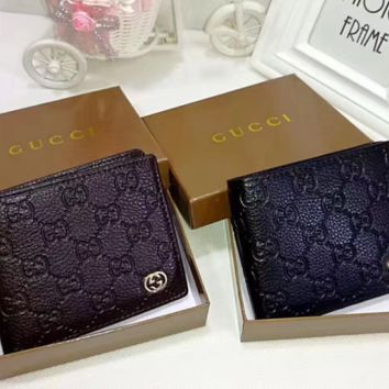 Gucci cross sectional Leather Fashion Wallet [305666097181]