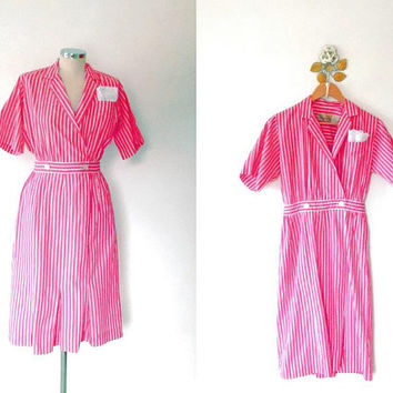 Pink candy stripe dress / vintage / pin up / retro / sailor / rockabilly / 1950s / button / cross over / short sleeve / cotton wiggle dress