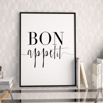 BON APPETIT SIGN,Kitchen Wall Decor,Kitchen Sign,Restaurant Decor,Bar Decor,Home Decor,Inspirational Quote,Wall Art,Typography Print,Quote