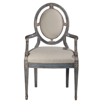 Theodore Alexander, Chandos Occasional Chair, Gray/White, Accent & Occasional Chairs