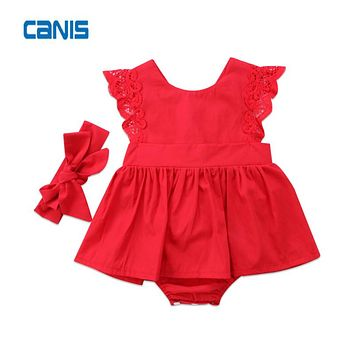 Xmas Red Flower Cotton Adorable Toddler Newborn Kids Baby Girls Romper Dress Jumpsuit Outfits Cute Fashion Newest Clothes 0-24M