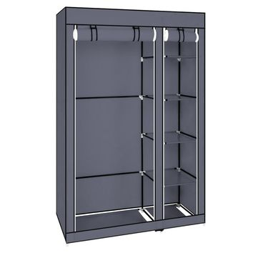 """67"""" Portable Clothes Closet Wardrobe with Non-woven Fabric and Hanging Rod Quick and Easy to Assemble Gray"""