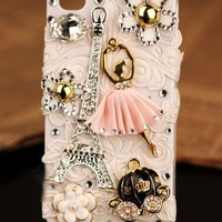 New 3D iPhone 5 4S 4G 3GS cover Eiffel Tower France Flower pearl girly case - Apple iPhone Cases - Phone Cases Rhinestones iPhone 5 4S 3GS Cases, Couple Necklaces / Wedding Rings & Uncommon Gift Ideas - Worldwide Shipping