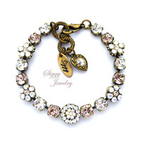 Swarovski® Crystal Bracelet, Victorian Style, Heirloom Flower Embellished, 6mm Vintage Rose, Crystal Moonlight, AB, GENEVIEVE, Gift Packaged