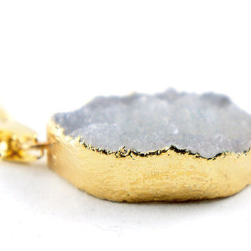 Gray Druzy Necklace - Raw Druzy Necklace - Natural Druzy Quartz Crystal - Rough Cut Rock Nugget Necklace OOAK - Bridesmaid Gift Idea - SDN34