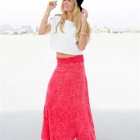 Red Acid Wash Maxi Skirt