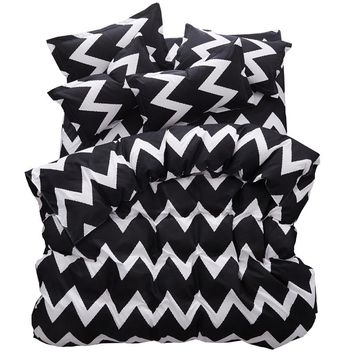 Bedding Sets Custom Size Duvet Cover Set USA Russia Size Bed Linen King Size Bed Sheet Set Bedclothes White And Black Wavy