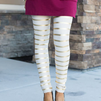 Holiday Dreams Sparkle Bandage Striped Leggings