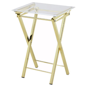 Marti Folding Tray Table, Gold, Acrylic / Lucite, Tray Tables
