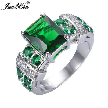 #Green #Party #Ring #High #Quality #CZ 10KT White Gold Ring
