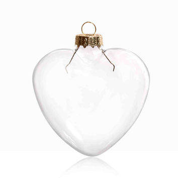5 Pieces x DIY Paintable 3.35 Inch (85mm) Christmas Decoration Clear Glass Heart Ornament With a Gold Cap