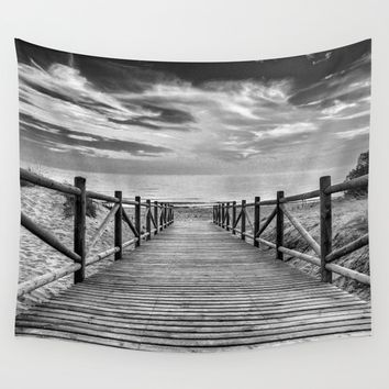 """To The Beach...."" Bw Wall Tapestry by Guido Montañés"