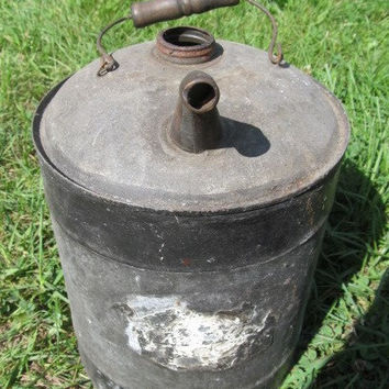 Rustic Farmhouse Decor Primitive Old Gas Can with Nozzel Rustic Decor Industrial Metal Gas Can