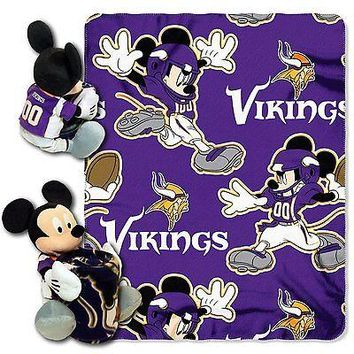 Minnesota Vikings NFL Mickey Mouse Throw and Hugger Pillow Set