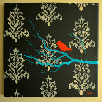 Damask print Bird on a Branch Original Painting