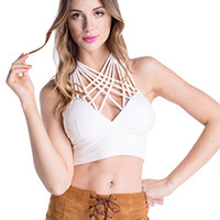 White Halter Strappy Cross Crop Top