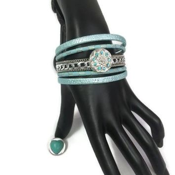 Anastasia Fashion Snap Jewelry Cuff Leather Bracelet Set With 2 Charms Modern And Classy