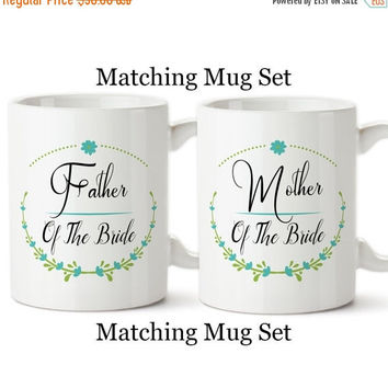 Coffee Mug, Father And Mother Of The Bride Set, Floral Wreath, Wedding Party Gifts, Design,