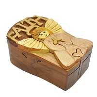 Handmade Wooden Art Intarsia TRICK SECRET Faith Angel Puzzle Trinket Box (3469) (g2)