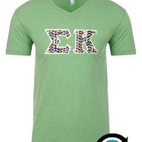 CUSTOM Next Level Unisex Premium Stitched Greek (Sorority and Fraternity) Letter V Neck
