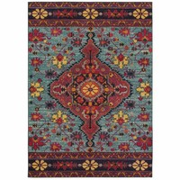 Bohemian Blue Pink Oriental Medallion Traditional Rug