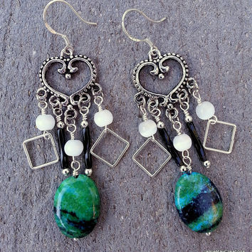 Bohemian Chandelier Earrings with Chrysocolla Drops and Heart Components - Bohemian Earrings - Teal Beaded Earrings - Gypsy Boho Earrings