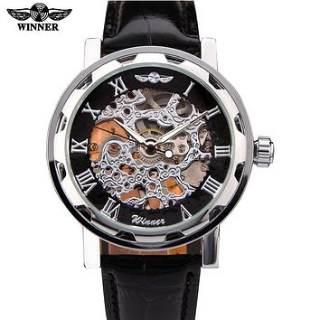 New Winner Hot mechanical Brand men hand wind Skeleton watches male Dress fashion clock style black gold blue color leather band