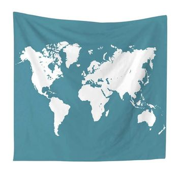 Clear World Map Tapestry