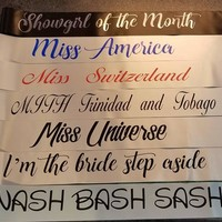 Personalized Sash for Halloween, Pageant Sashes or Bridal Shower Sash to Wear or Bachelorette Party Sash Hen Night