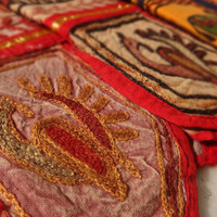 """Bohemian Wall Hanging, Hand Embroidery, Indian Tapestry, Wall Art, Elephant Wall Decor, Cotton Fabric, Size 15"""" x 5"""" Inches"""