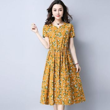 Bohemian  Mori Girl Retro Midi Dress Women Summer New Fashion Linen Plus Size Flower Long Dresses Japanese Style Vintage Boho