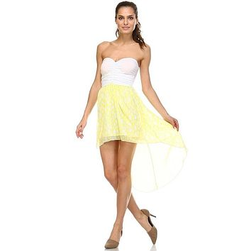 Women's Mixed Media Hi-Low Strapless Dress