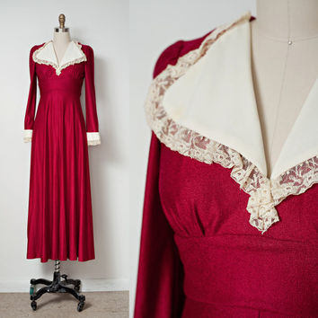"Vintage 70s Dress Prairie Knit Empire Maxi Oxblood Red Lace Trimmed Long Sleeves XS S (25"" Waist)"