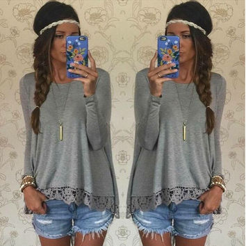 Gray Long Sleeve Lace Panel T-Shirt