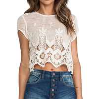 Lovers + Friends Zuma Crop Top in Cream