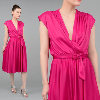 Vintage 70s Fuchsia Dress Plunging V Neck Cap Sleeve Dress Belted Midi Dress Draped Full Skirt 1970s Disco Dress Purple Pink Small XS S