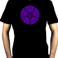 Solid Purple Classic Satanic Baphomet Men's T-Shirt Occult Clothing