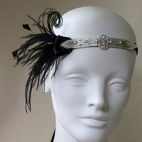 Baby Flapper Silver And Black Feather Headband by BaroqueAndRoll