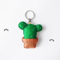 Succulent felt keychain, cute stuffed cactus accessory, summer gift idea