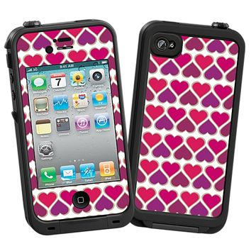 Hearts White Skin for the iPhone 4/4S Lifeproof Case by skinzy.com