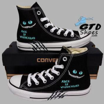 CREYON hand painted converse hi alice in wonderland cheshire cat handpainted shoes