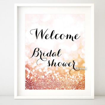 Rose gold glitter printable welcome sign for bridal showers