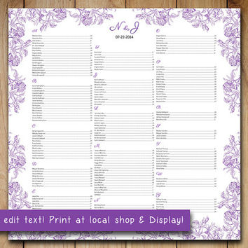 "Wedding Seating Chart Template | Botanical Vintage Purple Microsoft Word Template | Editable Text | 22"" x 22"" Wedding Download"